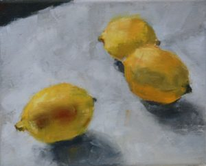 Three Lemons (oil on canvas) image 8x10 w/frame 13 1/4 x 15 1/4    $315